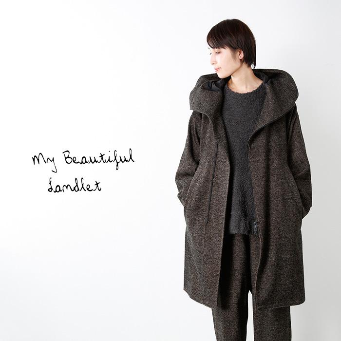 mybeautifullandlet(マイビューティフルランドレット)ブリティッシュウール混フードコートwm06-co172061