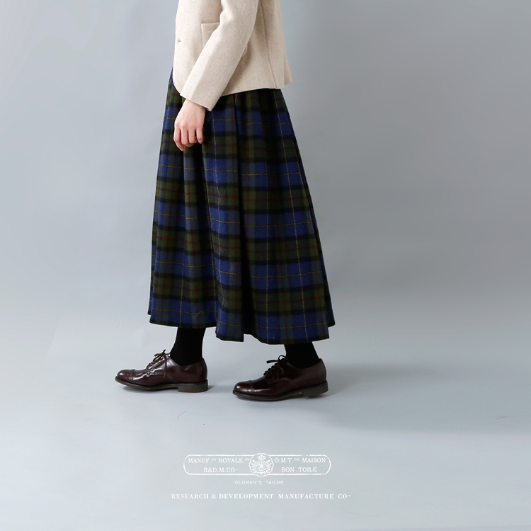 R & D.M.Co-(オールドマンズテーラー)ウールタータンチェックギャザースカート 3297