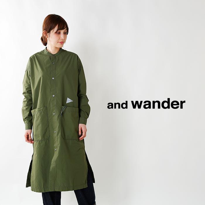 and wander(アンドワンダー)カラビナ付きコーデュラタイプライターロングシャツ aw83-fh042