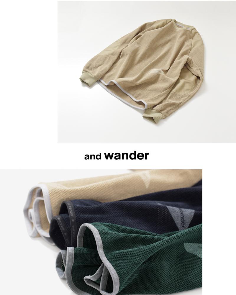 and wander(アンドワンダー)フリースメッシュプルオーバーカットソー aw83-jt039