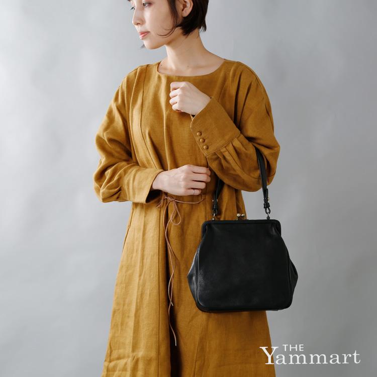 Yammart(ヤマート)カウレザーがま口スクエア型ハンドバッグ plaingamahandbag-square
