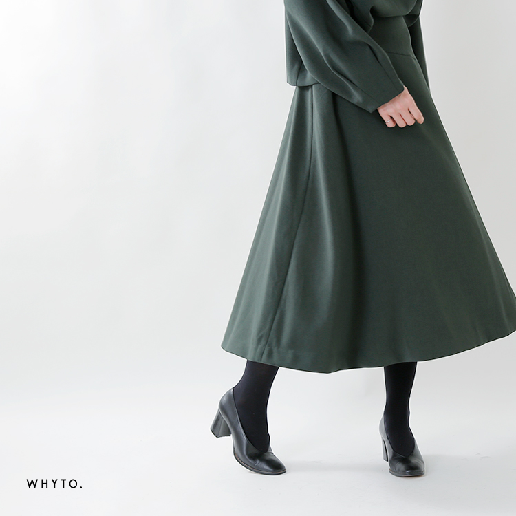 whyto(ホワイト)マットストレッチクロスアシンメトリー切替フレアースカート wht18fsk3