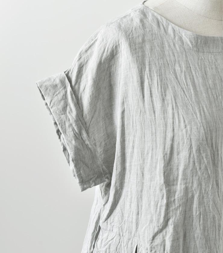 suro(スロ)カフス付きウエスト切替リネンワンピース 180401-02