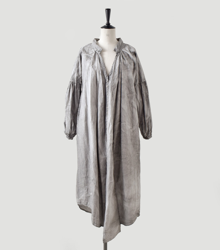 Tabrik(タブリク)墨染めコットンロングシャツドレス 18602