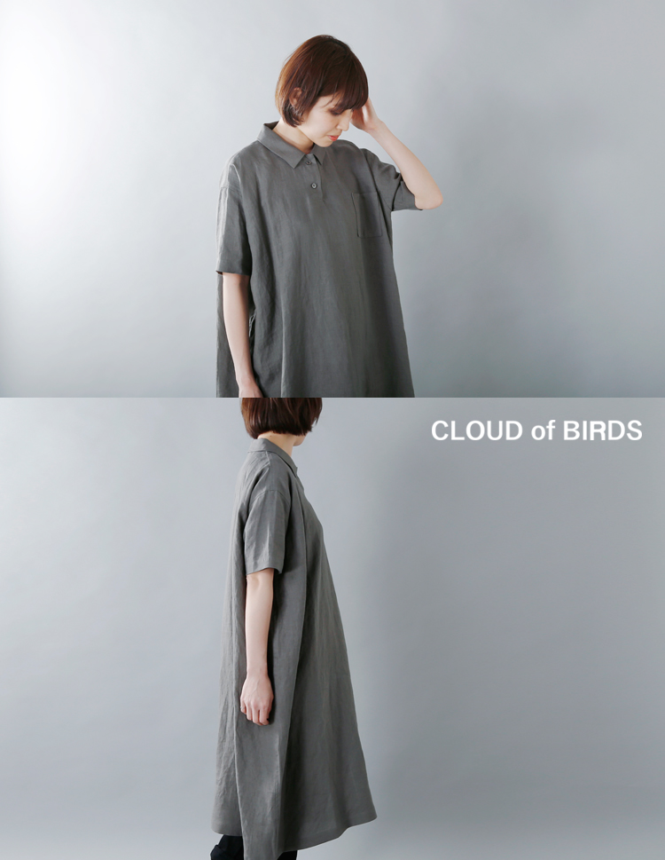 CLOUD of BIRDS(クラウドオブバーズ)1/40リネンシャツワンピースco-1056