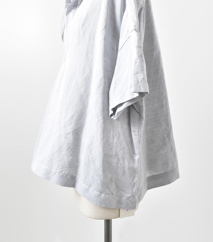 "TOUJOURS(トゥジュー)コットンリネンオープンバックヨークスキッパーシャツ""Open Back Yolk Skipper Shirt"" km28ps01"