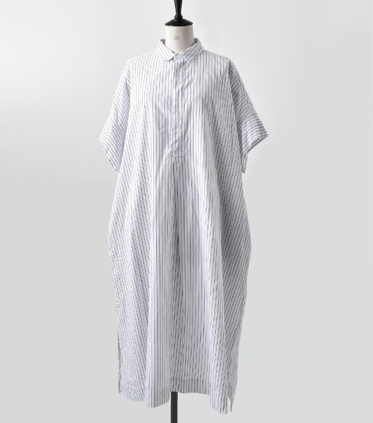 "TOUJOURS(トゥジュー)<br>ストライプワイドシャツドレス""Short Sleeve Wide Shirt Dress"" km28td03"
