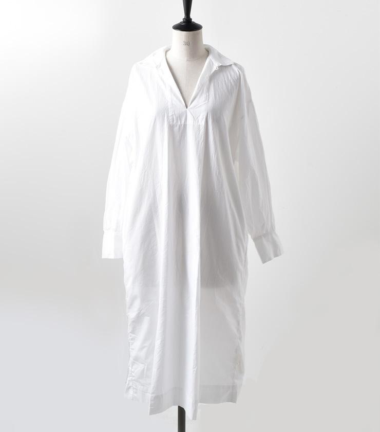"TOUJOURS(トゥジュー)ビショップスリーブシャツドレス""Bishop Sleeve Shirt Dress"" mm28ed05"