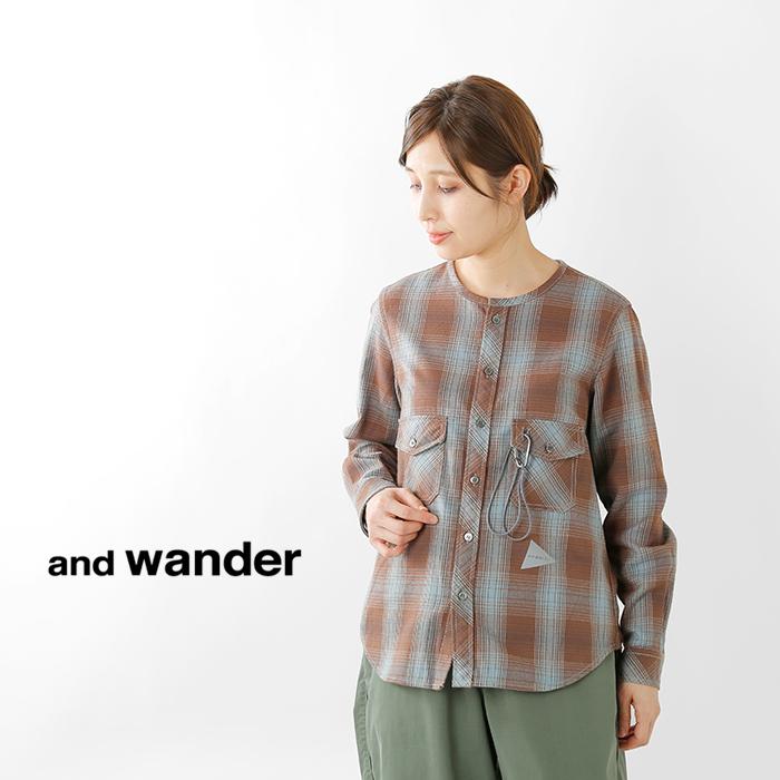 andwander(アンドワンダー)サーモネルチェックカラーレスシャツaw93-ft047