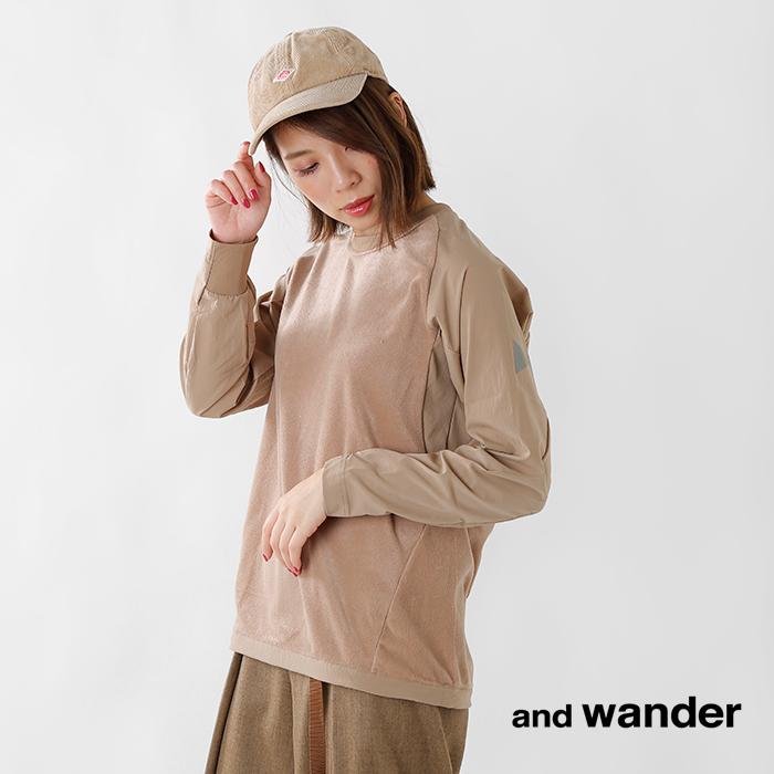 andwander(アンドワンダー)フリースベースクルーネックTシャツaw93-jt644