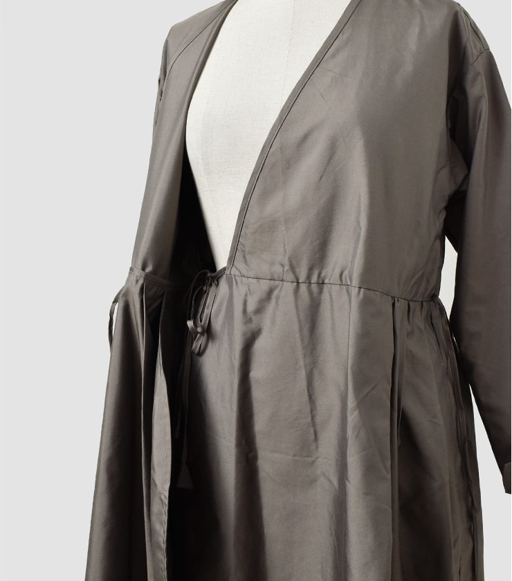TOUJOURS(トゥジュー)ピュアシルクツイルサイドタックカシュクールドレスSide Tuck cache-coeur Dress tm31ed03