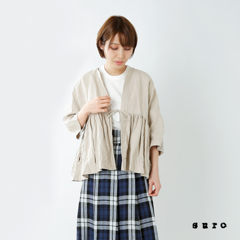 suro(スロ)切り替えギャザーリネンジャケット 190101-02