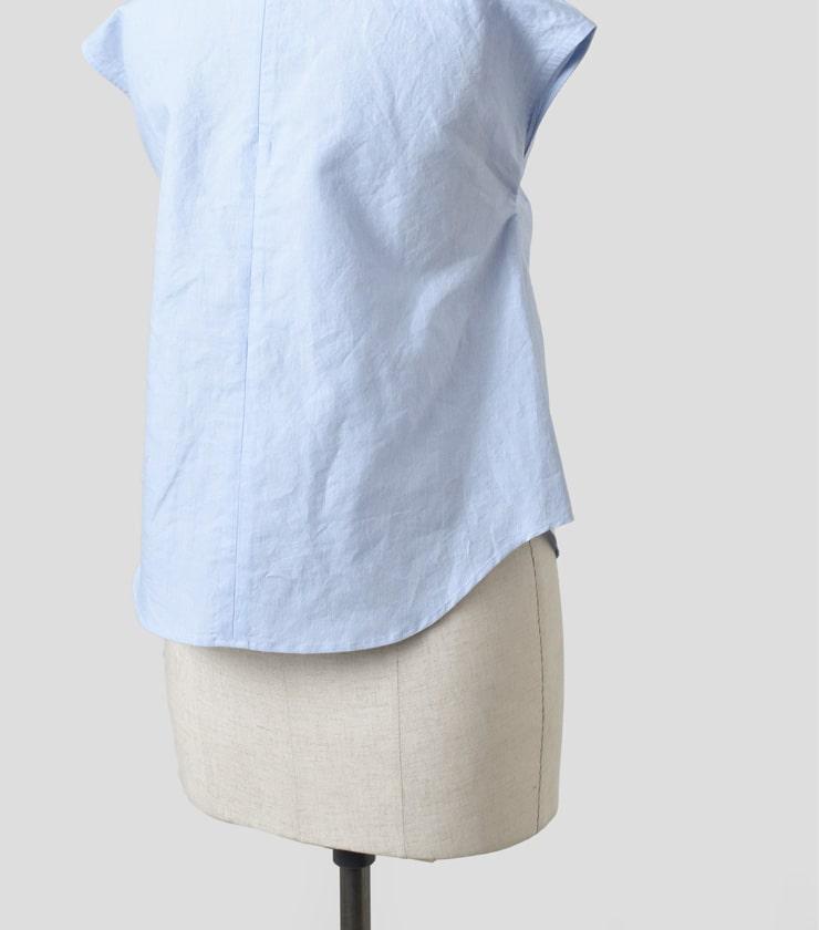 R & D.M.Co-(オールドマンズテーラー)コットンラミーラウンドカラーシャツ 3571
