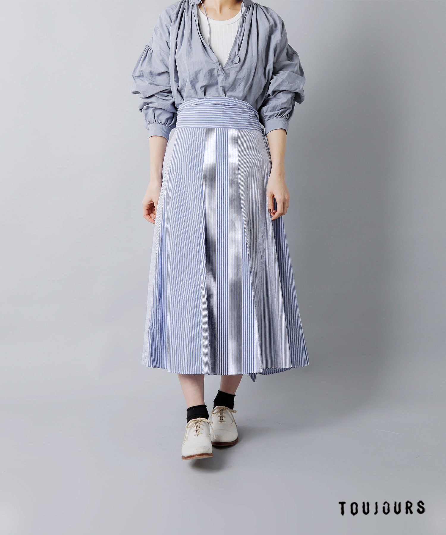 "TOUJOURS(トゥジュー)コンビネーションタイスカート""Thai Style Flared Combination Skirt"" km30tk03"