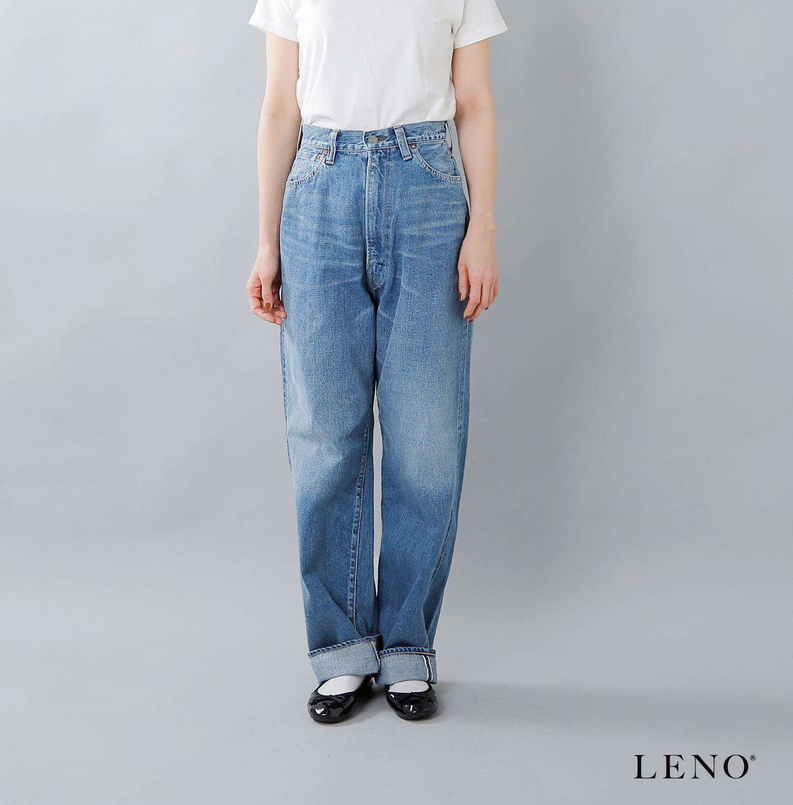 """LENO(リノ)ハイウエストフェードウォッシュジーンズ""""KAY"""" l1901-j005f"""