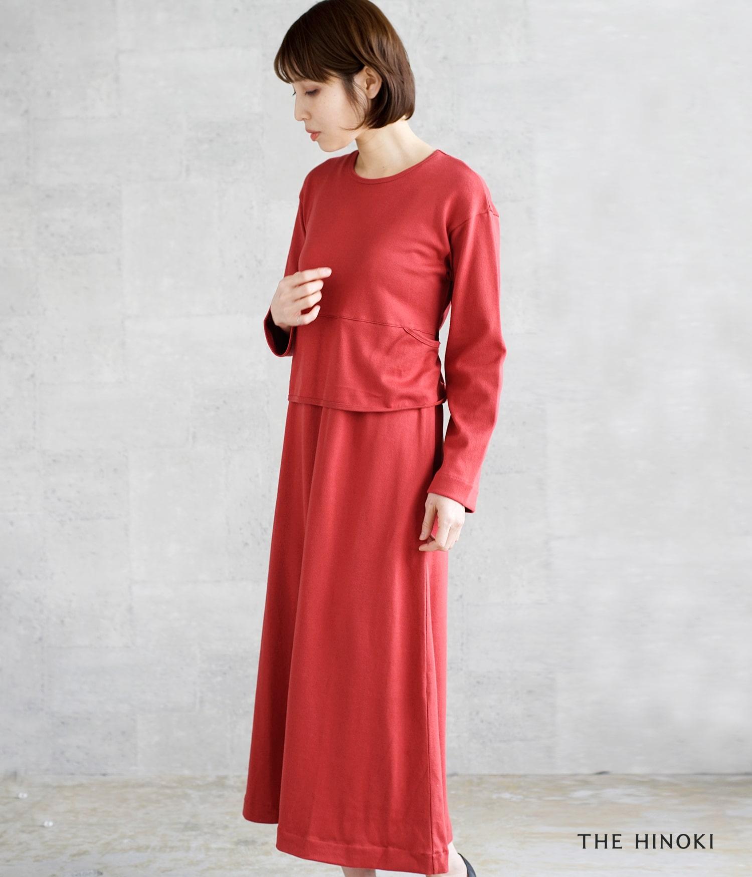THE HINOKI(ザ ヒノキ)オーガニックコットン ロングスリーブベルテッドドレス th19s-25