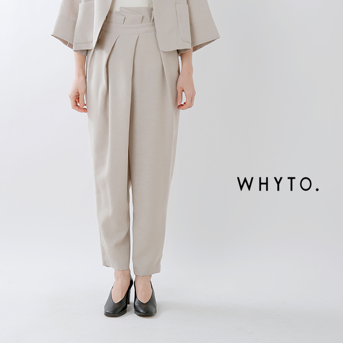 whyto(ホワイト)ポリエステルリネンライクランダムタックトラウザーパンツ wht19hpt8