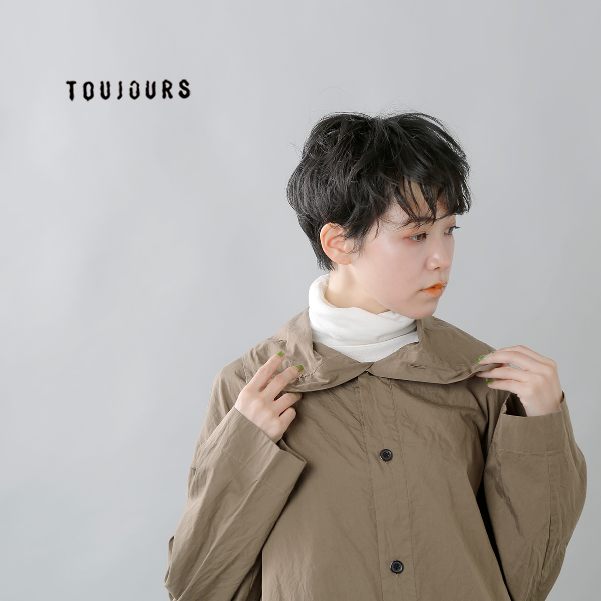 TOUJOURS(トゥジュー)シルクコットンハイネックシャツ mm33cs01