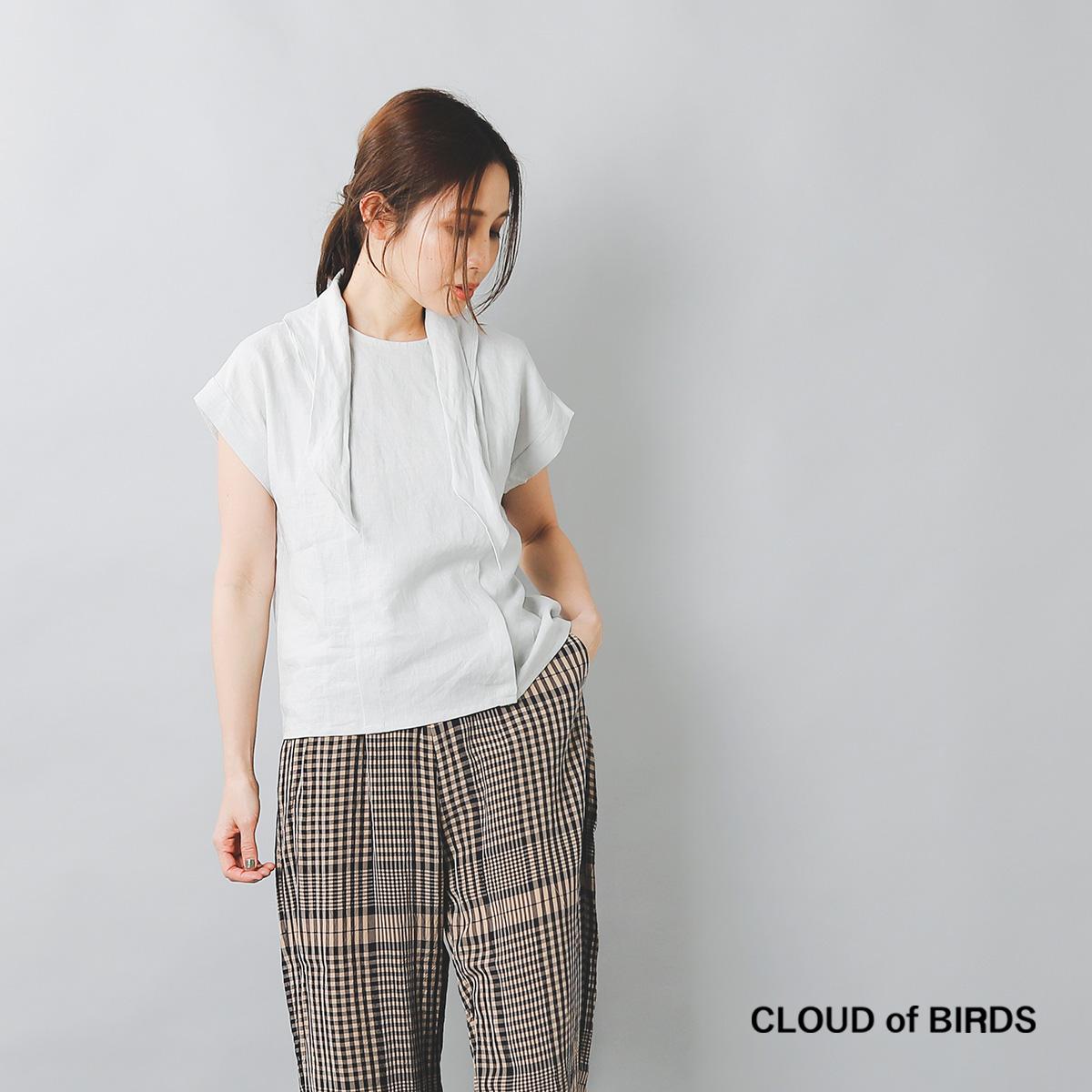 CLOUD of BIRDS(クラウドオブバーズ)リネンリボンタイ半袖シャツ cb-1111