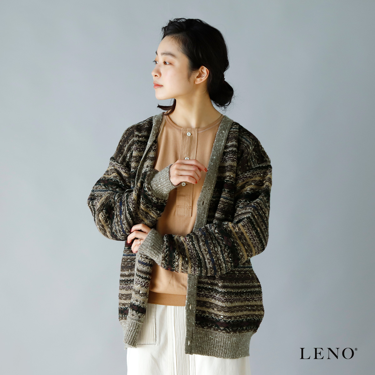 LENO(リノ)ジャガードマルチボーダーニットカーディガン leno-k005