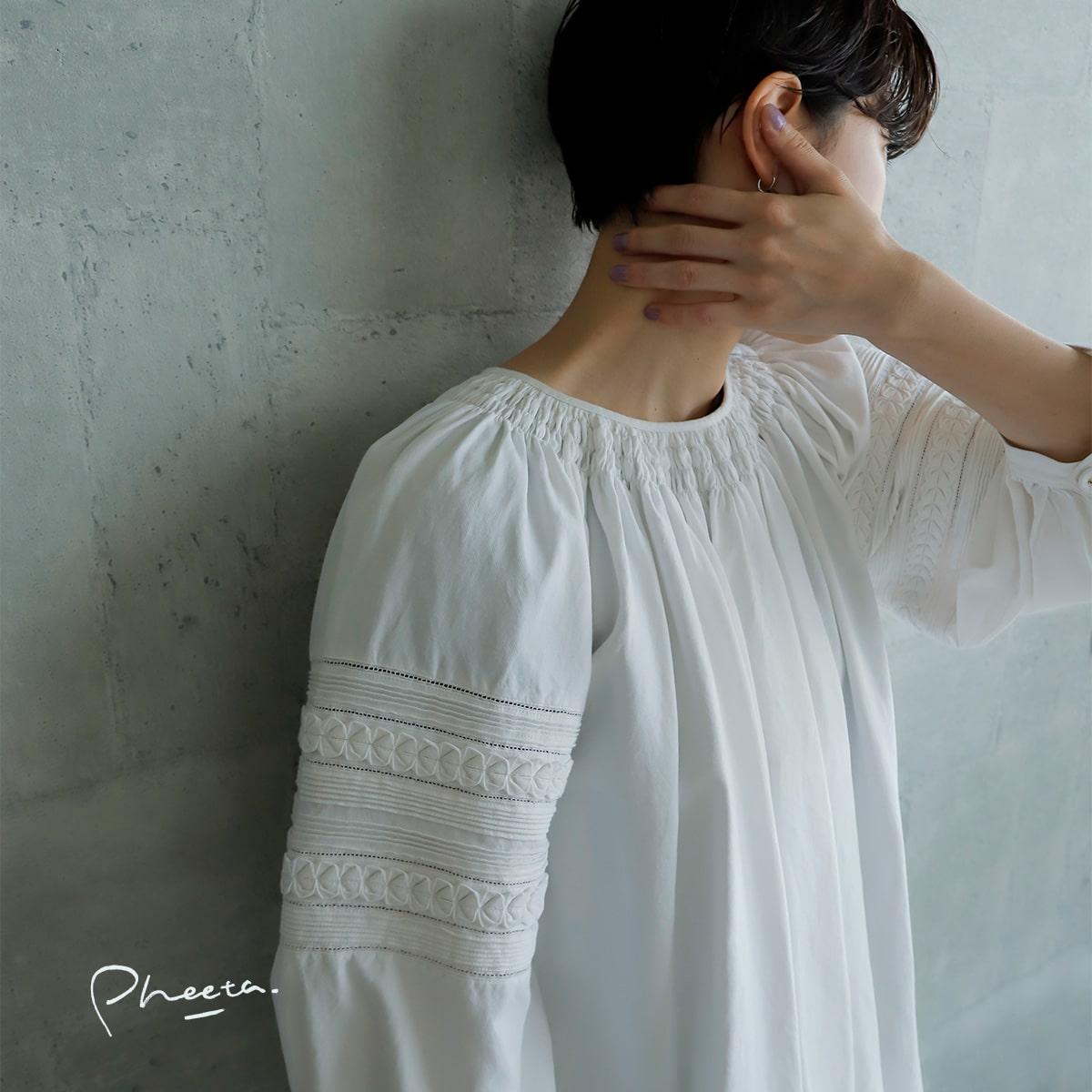 """Pheeta(フィータ)コットンスリーブ刺繍ギャザーブラウス""""Gray"""" ph21aw-21"""