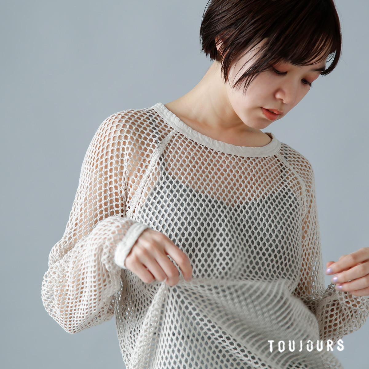 "TOUJOURS(トゥジュー)ジャージー長袖Tシャツ""Authentic Cotton Fishnet Jersey Long Sleeve T-shirt"" lm34xc03"