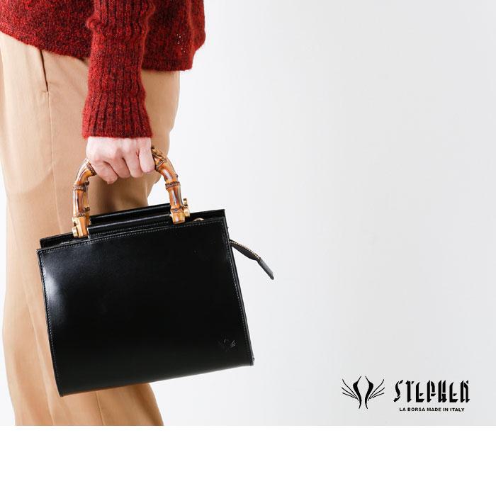 STEPHEN(ステファン)バンブーハンドルレザーハンドバッグ 4440-b