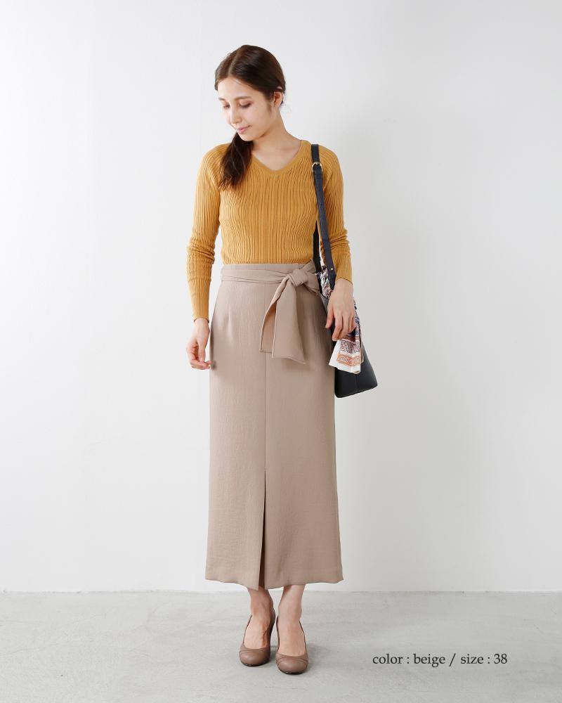 yangany(ヤンガニー)ウエストリボンスリットタイトスカート f-5228