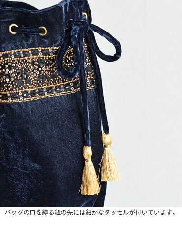 ne Quittez pas(ヌキテパ)ビジュー付きベロア巾着ショルダーバッグ 172n-b134