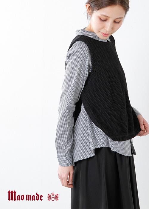 mao made(マオメイド)リネンコットンワッフルニット ラウンドヘムベントベスト 711102