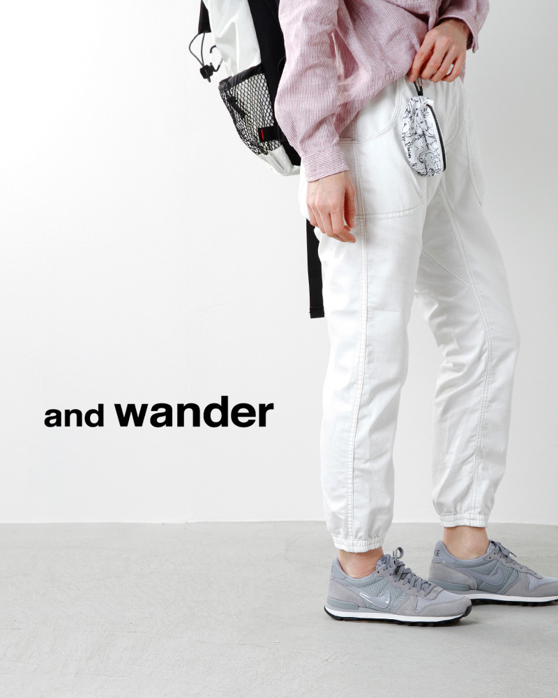 and wander(アンドワンダー)ポーチ付きドライデニムイージーパンツ aw71-ff061