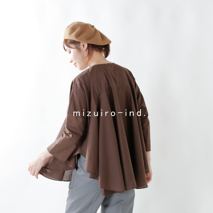 mizuiro-ind(ミズイロインド)コットンフレアボリュームプルオーバー 3-237748