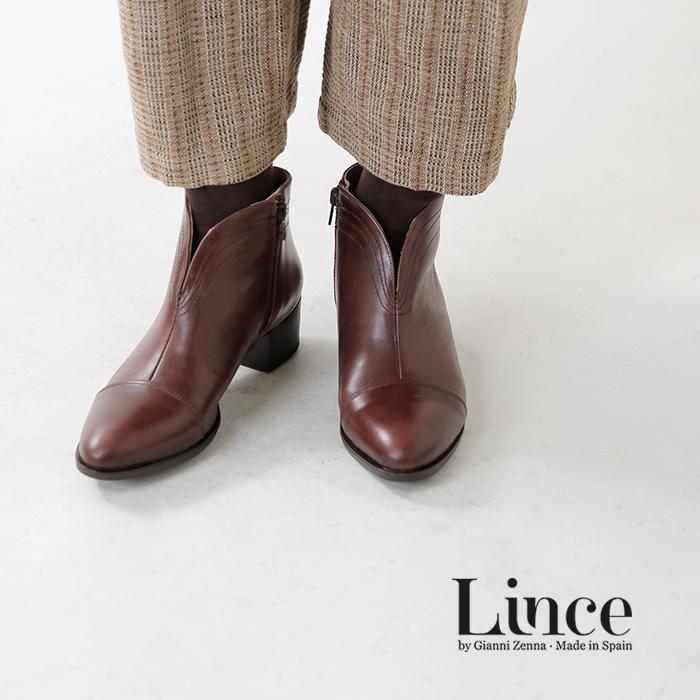 LINCE(リンセ)シエラカウレザーVカットヒールショートブーツ 87352