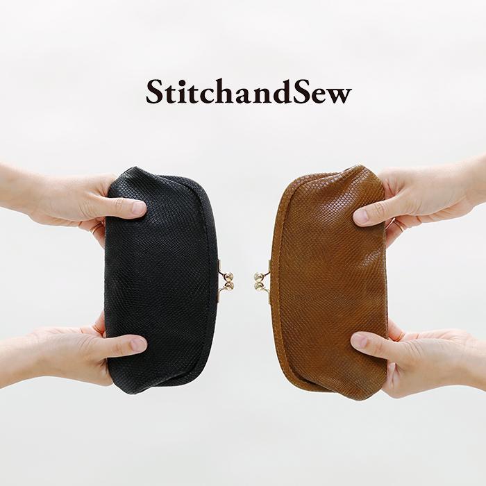 StitchandSew(スティッチアンドソー)型押しリザードカウレザーがま口ウォレット clw105