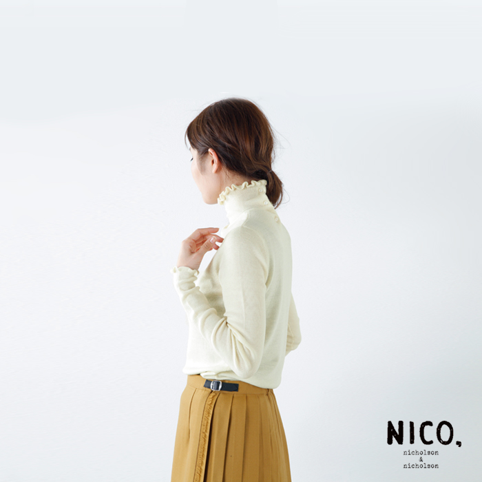nicholson and nicholson(ニコルソンアンド ニコルソン)ウールフリルタートルネックニットプルオーバー goose