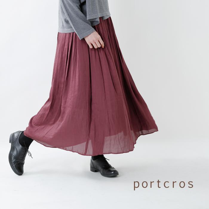 Portcros(ポートクロス)ウォッシャブルビンテージサテンギャザーマキシスカートi-8030