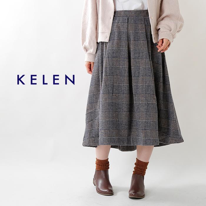 "kelen(ケレン)グレンチェックフレアスカート""Elma Check"" lkl18fsk2b"