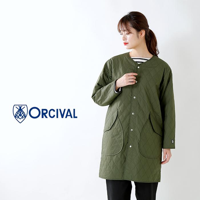 ORCIVAL(オーチバル・オーシバル)サーマルコットンキルティングダウンノーカラーロングコート rc-8922mty