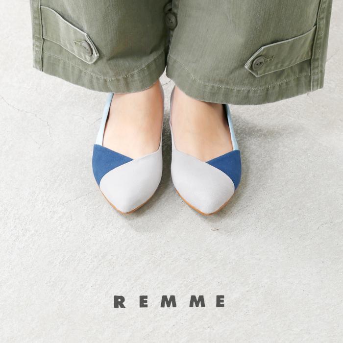 REMME(レメ)スエード配色ローヒールパンプス6287