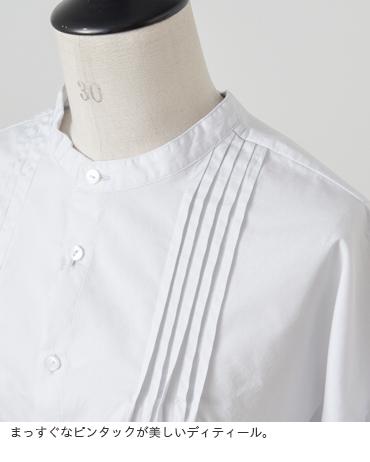 GRANDMAMAMADAUGHTER(グランマママドーター)ブロードコットンノーカラータックシャツgs811801