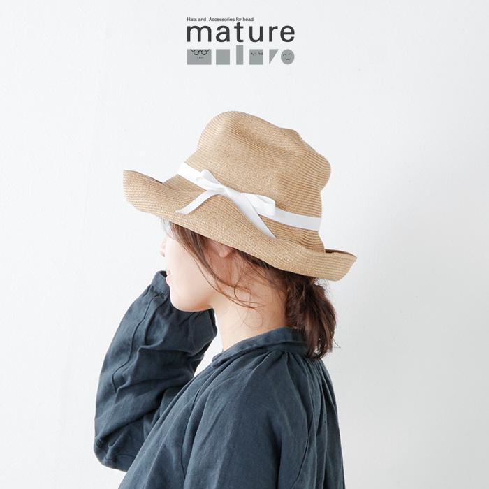 mature ha.(マチュアーハ)aranciato別注 グログランリボンペーパーブライドボックスハット mbox-101-white