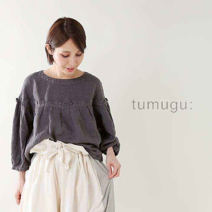 tumugu(ツムグ)ソリトリネンプリーツ切替フレアプルオーバーブラウスtb18128