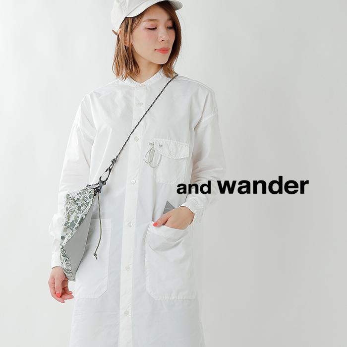 and wander(アンドワンダー)カラビナ付きコーデュラタイプライターロングシャツ aw93-fh043
