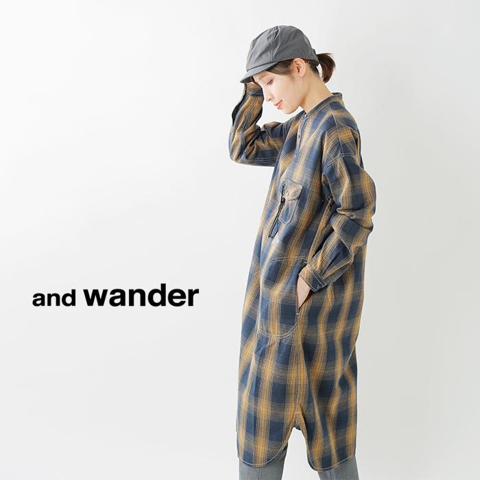 andwander(アンドワンダー)サーモネルチェックチュニックaw93-fh048