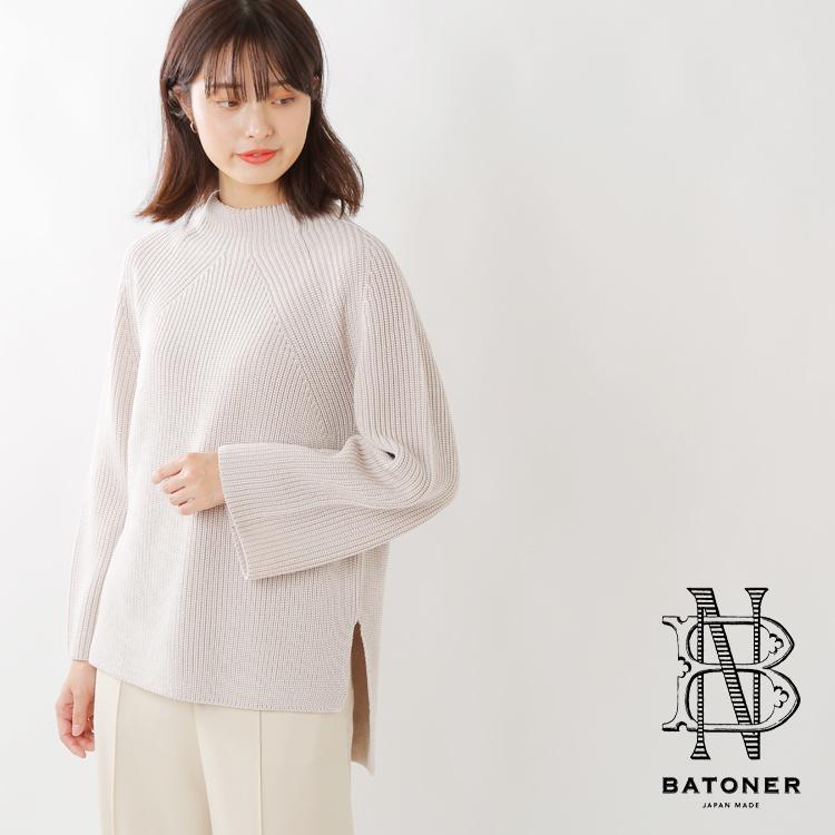 BATONER(バトナー)スーパーファインメリノウールシグネチャーボトルネックプルオーバー bn-19fl-026