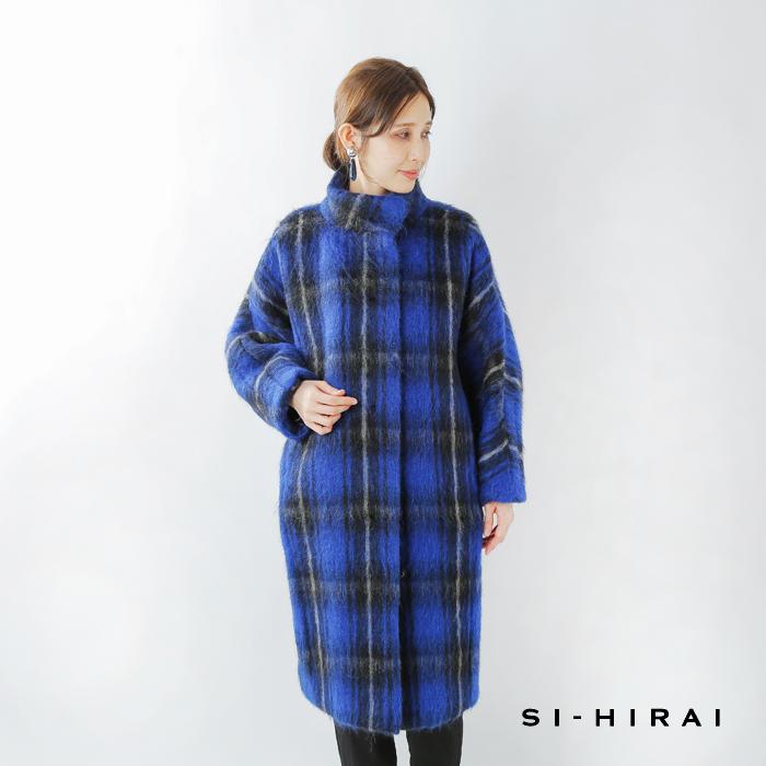 SI-HIRAI(スーヒライ)アルパカモヘアシャギーチェックバルジスリーブコート chaw19-4023lg-ch