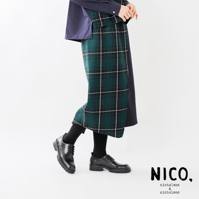 nicholson and nicholson(ニコルソンアンド ニコルソン)チェックウールラップスカート crumble