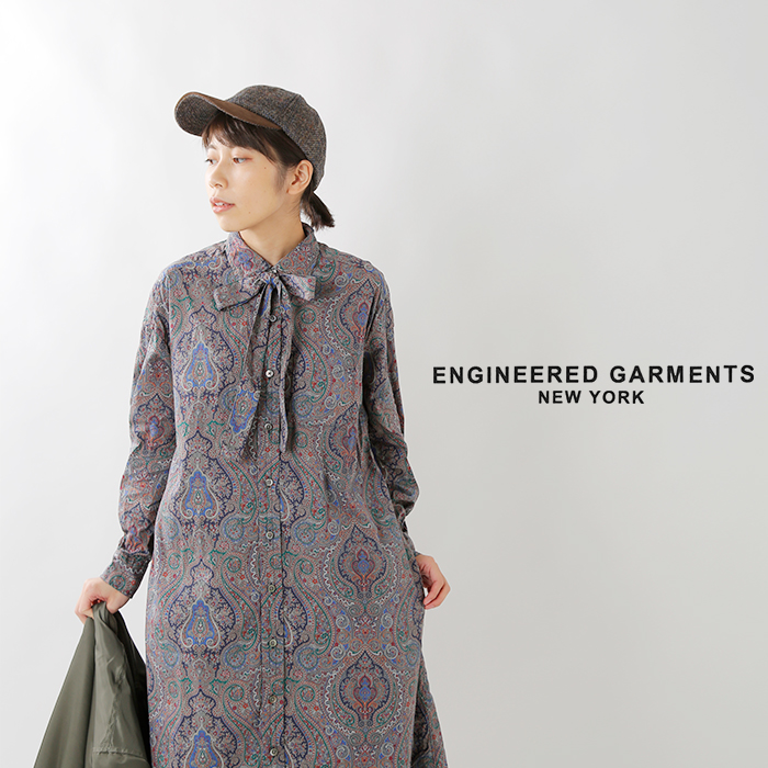 "ENGINEEREDGARMENTS(エンジニアドガーメンツ)コットンペイズリープリントシャツドレス""BDShirtDress""fg364"
