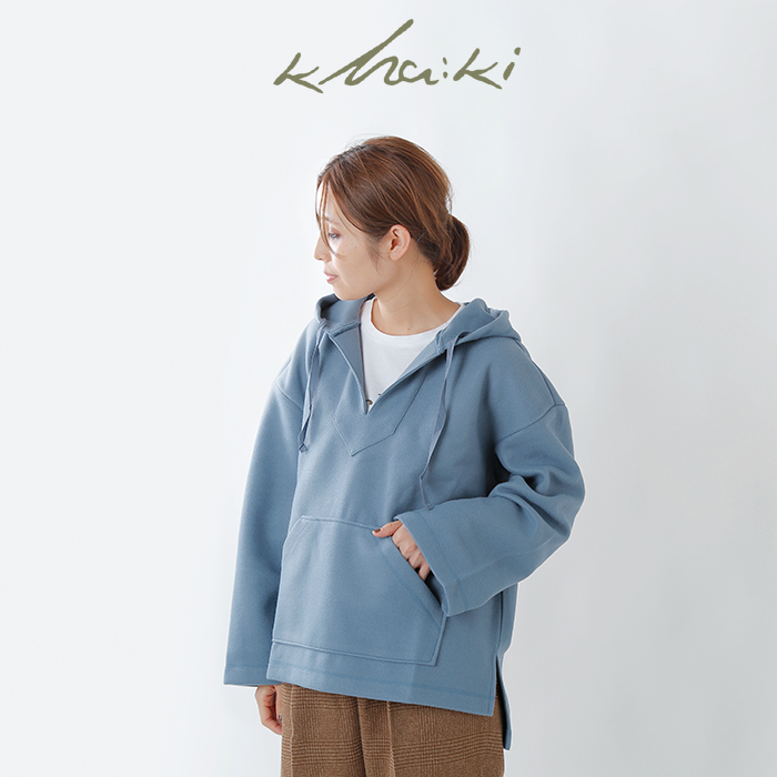 kha:ki(カーキ)T/Rストレッチ起毛ブラッシュドメキシカンパーカー mil-19fcs181