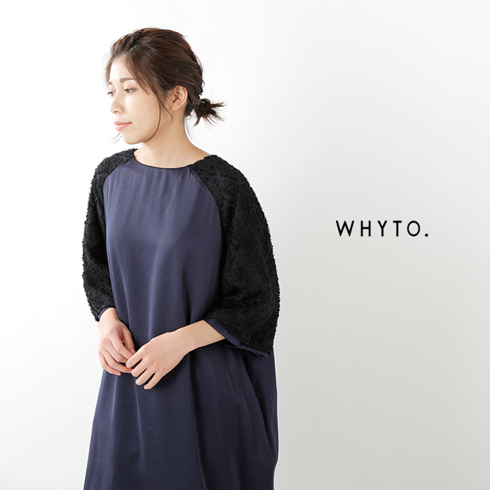 whyto(ホワイト)ジャガードレーススリーブワンピース wht19fop4